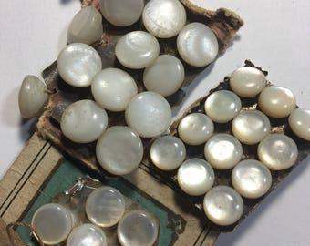 Vintage Mother Of Pearl Buttons on cards