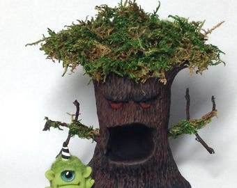 "OOAK Haunted Tree and Monster Trollfling ""Gromble"" by A+A Matthies"