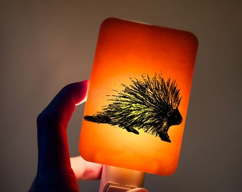 Porcupine Night light on Tangerine Orange Fused Glass Nightlight - Gift for Baby Shower or Nature Lover - Woodland Animal