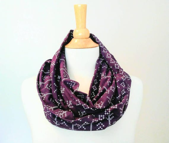 Plum infinity scarf stitched arrow print purple scarf gift for her holiday stocking stuffer loop scarf cotton scarf winter accessories