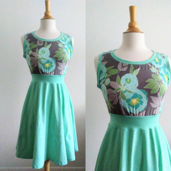 Ooak Aqua Floral Womens Dress Size SMALL stretch Cotton sleeveless Full swing dress summer party dress fit and flare - Ready to Ship