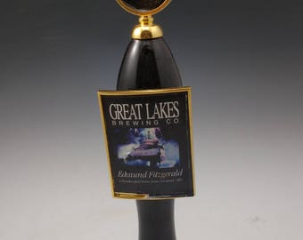 Bar used beer tap made into a hat rack or coat rack.  Great lakes Edmund Fitzgerald porter beer,  Cleveland Ohio Made.  Reclaimed