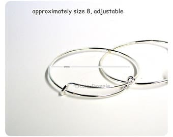Sale Bracelet blank DIY jewelry 10 pieces bangle bracelets for charms, adjustable silver bracelet blanks, add a charm bracelet supplies