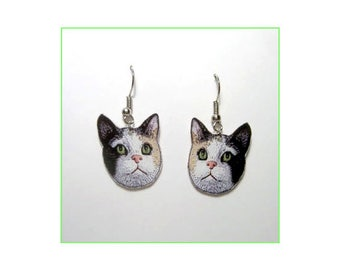 Handcrafted Plastic Calico Cat Head Earrings