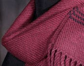 Red scarf / Handwoven scarf / merino wool scarf /winter scarf / mens scarf / womens scarf