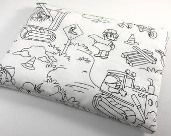 Color Me Fabric Zipper Bag Kids Drawing Art School Supplies Construction Workers