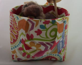 Orange Paisley Small Basket