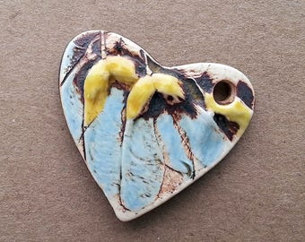 Ceramic Heart Pendant Maple Seed wings Textured and Hand Painted by  Mary Harding