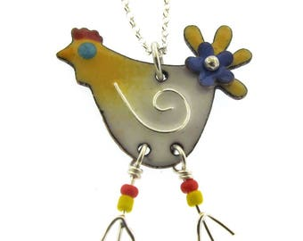 Chicken Necklace, colorful enameled chicken charm