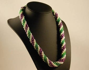 GRAPEVINE- Seed Bead Crochet Necklace - Beaded Crochet Rope - Beaded Lariat Rope - Beaded Necklace - Spiral Beaded Crochet Necklace