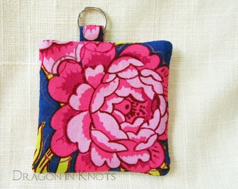 Earbud Holder - Pink Roses on Royal Blue Mini Pouch for Small Items with optional Swivel Clip, Floral Case for Guitar Picks, Fabric Keychain