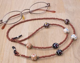 Brown eyeglasses neck chain - Dotty wood and bronze bead glasses chain | Sunglasses holder | Funky eyewear accessories | Eyeglass necklace