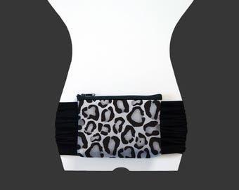 Fanny Pack - Belly Bag - Bum Bag - Snow Leopard - Black STRETCHY Sash Belt - Wide Belt - Festival Travel Dog-Walking Pouch Cheetah Grey
