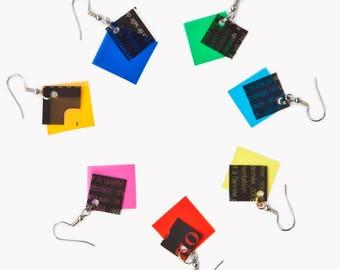 Geometrical Earrings | Yellow Earrings | Color Block, Gift For Her, Minimal Jewelry, Modern Earring, Geometric Jewelry, Unique Earring, Edgy
