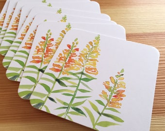 8 Watercolor Floral Coasters - Yellow Snapdragon Thick Paper Drink Coasters - Yellow Flowers Drink Coasters - Decorative Floral Coasters