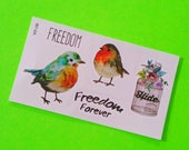 Freedom Fat Robin Contemporary Sweet Songbird Bird Fly Away Adorable Multi Sheet Colour Temporary Tattoo