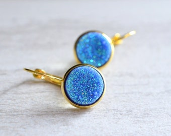 The Starlight- Blue Druzy and Gold Leverback Earrings
