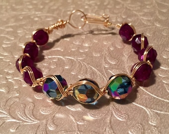 Plum And Teal Handcrafted Gold Wire Wrapped Bracelet