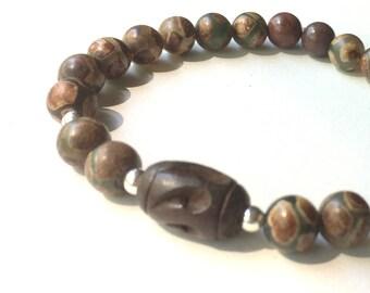 Unisex Gemstone Bracelet, Brown Stretch Bracelet, Tibetan Agate, Jewelry for Him, Earthtone Gemstones, Sterling Silver,  Wooden Bracelet