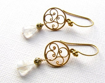Gold Moonstone Earrings, White Gemstone Triangles, Gold Fill Filigree, Fancy Moonstone Earrings, Gift for Special Someone, Valentine