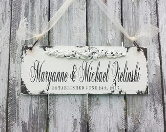 ESTABLISHED Sign | Custom Name Sign | Mr and Mrs Wedding Sign | Personalized Wooden Sign | Door Sign | Shabby Chic Sign | Rustic Chic Decor