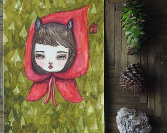 Wolf in little red riding hood. Original Danita watercolor painting. Inspired by fairytale, a pop surrealist woodland forest illustration
