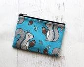 Squirrel zippered bag - cute zipper pouch - woodland creatures bag - essential oils pouch - squirrel bag - small makeup bag