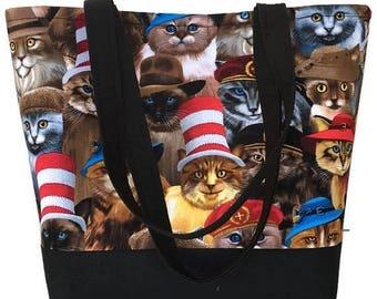 SALE Large Tote bag, Cats in hats,, Purse, handbag, Cat lovers,  tote bag, handbags and purses