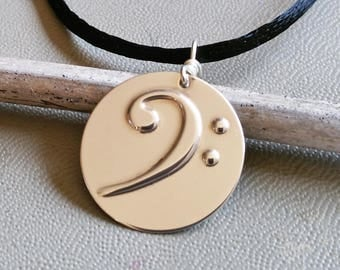 Bass Clef Pendant Necklace, F Clef Silver Music Jewelry, Musicians Gift, Bassist Christmas Gift Bass Necklace, Bass Jewelry, Guitar, Cellist