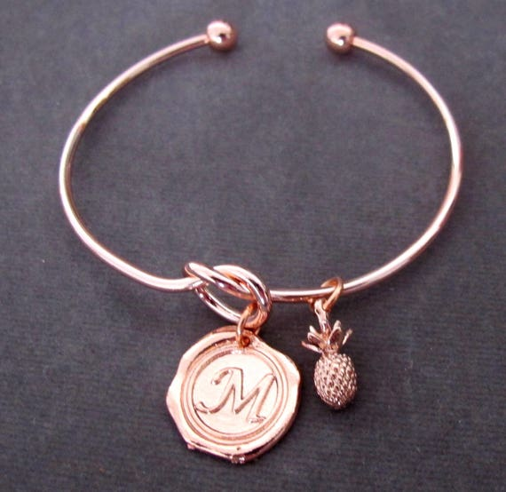 Rose gold bangle,Rose gold initial bracelet,stacking bracelrt,rose gold jewelry,Pineapple bracelet,Monogram Bracelet,Free Shipping USA