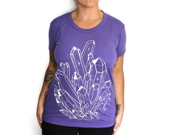 XL -  Soft  Tri-blend Purple Ladies Tee with Crystal Screen Print