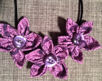 Purple Abstract Design Fabric Flower Statement Necklace