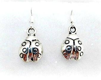 Ladybug Charm Pierced Earrings on 925 Silver Wires - Ladybug Charm Dangle Earrings Jewelry Gift