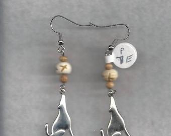 Wolf Charm Dangle Earrings
