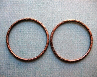 28mm Antiqued Notched Copper Circle Links - 1 pair - 14 gauge