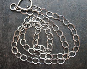 20 inch 8 by 6mm Antiqued Sterling Silver Hammer Texture Cable Chain Necklace