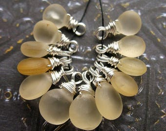 Frosted Citrine Briolette Bead Charms in Sterling Silver - 12 pieces - 12 to 14mm in length