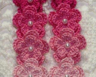 Crochet Flowers Applique Embellishment - SHADE OF PINK - 8 Pcs