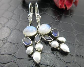 Moonstone, pearl, and iolite sterling silver earrings
