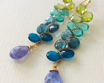 Key Biscayne Woven Earrings Kyanite Amethyst Apatite