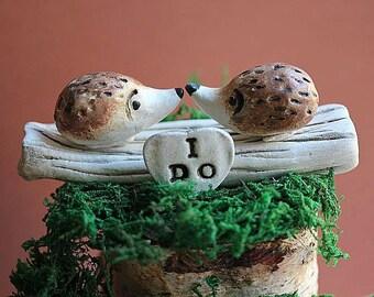 Clay Hedgehog  Cake Topper - Hedgehog cake topper - Rustic wedding cake topper - Animal cake topper - Woodland animal cake topper