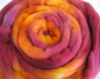 Hand Dyed Falklands Wool Roving - Fire Colorway - 3.4 Ounces - Free Domestic Shipping