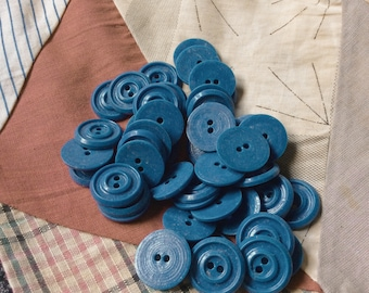 country blue buttons,vintage button,seventies,new old stock,3/4 inch,blue,set of 16,vintage seventies,eco friendly,raised rim,vintage supply