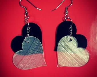 Heart Shaped Vinyl Record Earrings