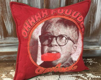 50% OFF- Christmas Story Throw Pillow-Humor- Iconic--Upcycled Eco Friendly-Quilted