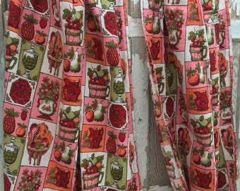 ECLIPSE SALE- Vintage Kitchen Curtains-Red and Pink-Like New