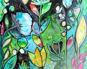 Colorful and Whimsical Intuitive Painting Summer Flowers Art by Carol Iyer