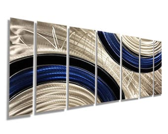 Large Multi Panel Contemporary Metal Wall Art in Blue, Black & Silver, Modern Wall Sculpture, Home Decor - Ebb and Flow by Jon Allen