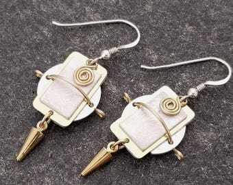 Unique Handmade Metal Earrings, Statement Jewelry, Dangle Hook Earrings, Stocking Stuffer, Presents For Her - Athenos Earrings by Jon Allen