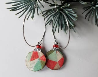 holiday baubles...earrings...festive geometric christmas ornament hoops